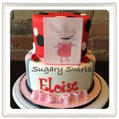 Olivia The Pig themed birthday cake created by Sugary Swirls Custom Birthday Cakes, Themed Birthday Cakes, Swirls, Create, Desserts, Food, Tailgate Desserts, Deserts, Meals