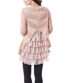 simply couture This Pink Two-Piece Crochet Tiered-Ruffle Tunic is perfect! #zulilyfinds