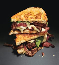 Grilled Cheese and Short Rib Sandwiches with Caramelized Onions and Arugula