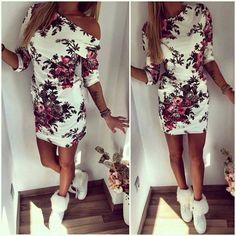 White Floral Print Round Neck Elbow Sleeve Mini Dress