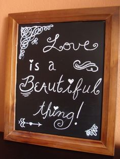 Love Is a Beautiful Thing  Wedding or Engagement Party Chalkboard by aspensandsunshine on Etsy