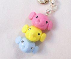 Pastel elephant stack. Kawaii polymer clay keychain.