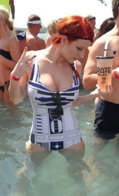 I needed this R2D2 swimsuit like YESTERDAY. May the 4TH be with you ;)