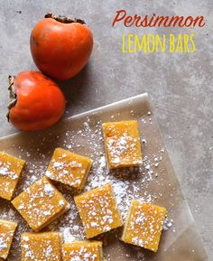 Persimmon Lemon Bars - We love this twist on a classic lemon bar with persimmons. Not only are they delicious, but the color is pretty, too! (Adapted from Smitten Kitchen).