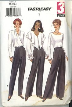 Misses'/Misses' Petite Pants Butterick Sewing Pattern 3209  Size: 20-22-24 Uncut Free USA SHipping