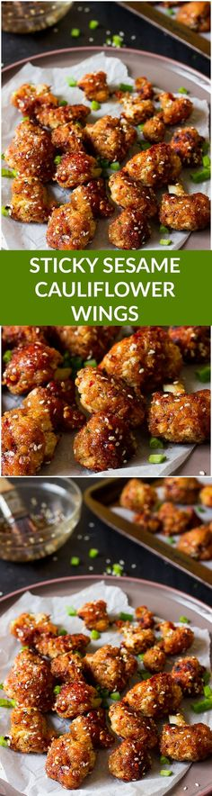 Sticky Spicy Sesame Cauliflower Wings (GF + V