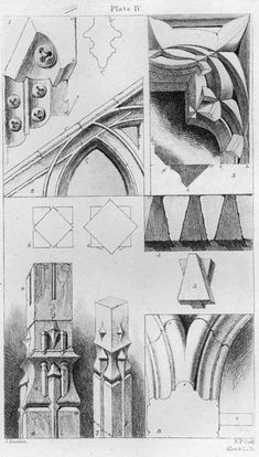 John Ruskin, The Seven Lamps of Architecture, 1855   Plate IV, Intersectional Mouldings, p. 59