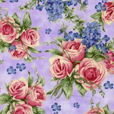 Holly Pond Hill Lavender Tea Floral - David Textiles - Susan Wheeler - Half Yard