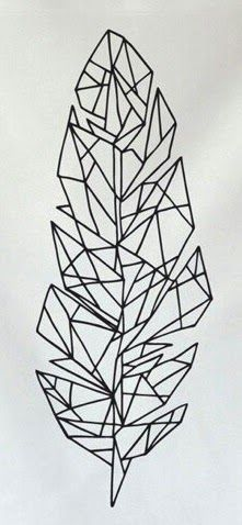 New origami dessin plume Ideas Geometric Drawing, Geometric Art, Geometric Embroidery, Printable Tattoos, Feather Drawing, Free Stencils, 3d Pen Stencils, Tape Art, Tattoo Stencils