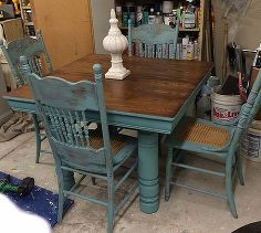farm table and chair updo, chalk paint, painted furniture, repurposing upcycling, shabby chic