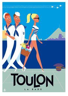 Toulon La Rade par Monsieur Z Art Deco Posters, Poster Prints, Vintage Advertisements, Vintage Ads, Sailing Pictures, Beach Posters, Art Deco Illustration, Advertising Poster, Vintage Travel Posters