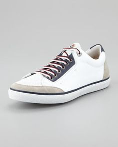N24M2 Moncler Academie Perforated Leather Sneaker, White