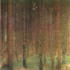 "Tannenwald II (Fir Forest II), 1901 by Gustav Klimt - 91,5 x 89 cm, Oil on canvas I During his summer retreat in Litzlberg on Lake Attersee, Klimt started his days at 6 o'clock with vast strolls in the woods. Locals called him a ""Waldschrat"" meaning somebody who lives in the woods on his own."