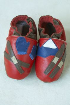 Ski Patrol Baby Shoes in allleather red with skis by cadeandco, $32.00