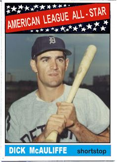 1966 Topps Dick McAuliffe All Star, Detroit Tigers, Baseball Cards That Never Were.