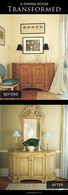 Updating the room didn't mean starting over. Instead, a bolder color on the walls, the removal of a few key pieces, and some modern touches made this room chic, warm, and welcoming.