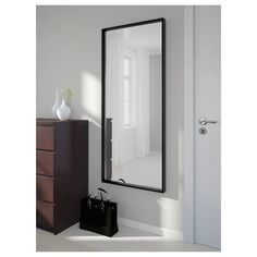 IKEA - NISSEDAL, Mirror, black, Can be hung horizontally or vertically. Safety film reduces damage if glass is broken. Suitable for use in most rooms, and tested and approved for bathroom use. Black Mirror, Ikea Nissedal, Ikea Mirror, Wall Mirrors, Couple Room, Bathroom Wall, Bathroom Black, Bedroom Decor, Bedroom Inspo