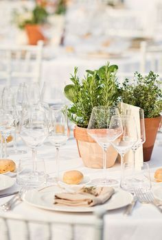 Rustic wedding flowers, herbs in terracotta pots, perfect for weddings in the Tuscan countryside