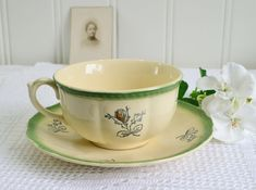 Tea cup with saucer vintage Swedish Gefle Stoneware Pale Yellow and Green