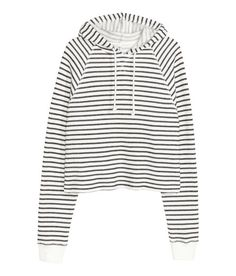Check this out! Short top in soft sweatshirt fabric with a drawstring hood and long raglan sleeves with ribbed cuffs. Soft, brushed inside. - Visit hm.com to see more.