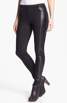 A hint of leather with these sleek leggings.