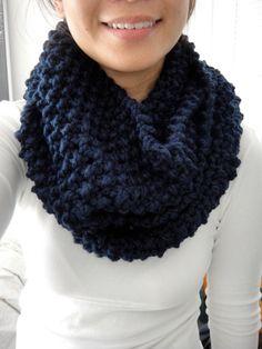 Brooke Chunky Infinity Scarf Cowl Navy Blue by LuluLuvs on Etsy, $50.00 blue scarf knit handmade bulky scarf