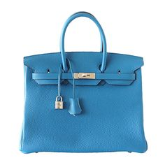 white birkin bag - HERMES BIRKIN 35 bag BLEU IRIS Ostrich Palladium | From a ...
