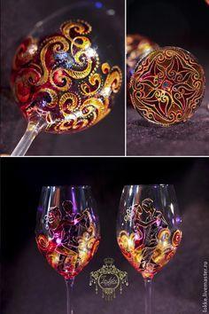 Купить Бокалы винные - Танго - ярко-красный, Бокалы, подарок, танго, на праздник