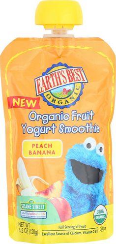 Earth's Best Organic Fruit Yogurt Smoothie - Peach Banana - Case Of 12 - 4.2 Oz.