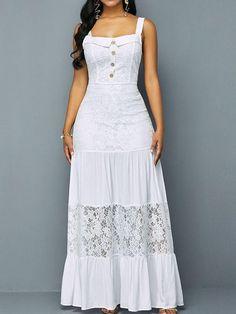 Sleeveless Button Square Neck Standard-Waist Pullover Maxi Dress
