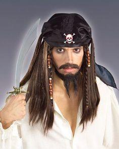 Caribbean Pirate Wig with Black Bandana | Cheap Pirate Wigs