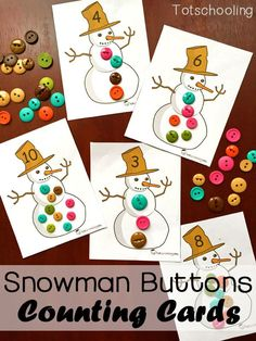 """Snowman Buttons Counting Cards Free Printable.  These Free printable Snowman Counting Cards include numbers 1-12. Place the correct amount of """"buttons"""" to match the number on each snowman's hat. Can be used with buttons, pom poms, playdough, stickers, or anything else you have on hand.  Download this FREEBIE at:  http://www.totschooling.net/2015/12/snowman-buttons-counting-printable.html"""