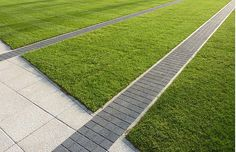 This is an intriguing idea and maybe a cool way to pull an area into a design while keeping some separation. Paving bands in grass Landscape Materials, Garden Landscape Design, Urban Landscape, Landscape Architecture, Modern Landscaping, Garden Landscaping, Paving Pattern, Paving Design, Pavement