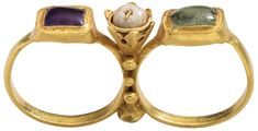 Two-Finger Ring, early 6th century. Byzantine. Gold, amethyst, emerald, glass, pearl