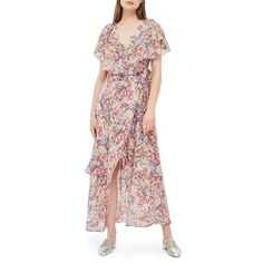 Women's Topshop Floral Ruffle Wrap Maxi Dress ($110) ❤ liked on Polyvore featuring dresses, pink multi, floral print maxi dress, floral wrap dress, maxi dress, pink maxi dress and pink floral dress