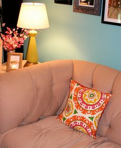 pillow, patterned Orange Pillow Covers, Orange Pillows, Peacock Blue Bedroom, Pillow Patterns, All Covers, Green Pattern, Bed Pillows, Pillow Cases, Solar