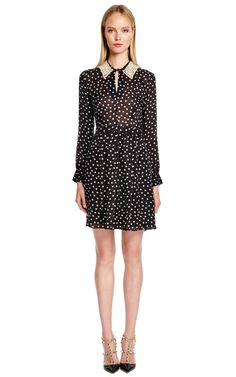 Polka Dot Silk Dress With Detachable Pearl Collar by Moschino Cheap & Chic Now Available on Moda Operandi