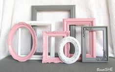 Pink Grey White Frame Set Custom Frames Open or by BeautiSHE