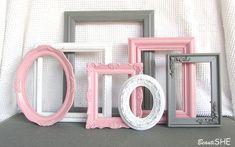 Pink Grey White Frame Set Custom Frames Open or by BeautiSHE