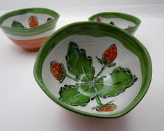 Strawberry Pottery Clay Bowl Majolica by ClayLickCreekPottery,