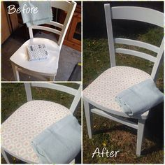 A customer brought in an old chair, sample of her curtain and some napkins she liked and left me to transform. What do you think... #beforeandafter #napkindecoupage #decoupage #upcycle #upcycling #recycle #repurpose #upcycledfurniture #anniesloan #anniesloanchalkpaint #chalkpaint #paintedfurniture #interiordesign #transformation #home #decor #design #furniture #thevintagechest #upcyclingproject #duckeggblue