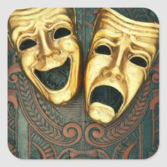 Solid-Faced Canvas Print Wall Art Print entitled Golden comedy and tragedy masks on patterned leather Marduk Band, Wall Art Prints, Poster Prints, Canvas Prints, Robin Williams, Comedy Tragedy Masks, Laugh Now Cry Later, Funny Photography, Bizarre