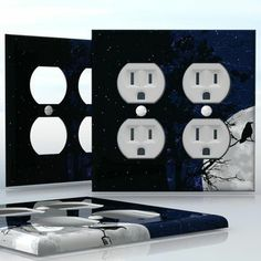 DIY Do It Yourself Home Decor - Easy to apply wall plate wraps | The Night of Raven Full moon with trees and bird silhouette wallplate skin sticker for 2 Gang Wall Socket Duplex Receptacle | On SALE now only $4.95
