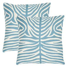 Caden Pillow in Blue - Set of 2  $99.95 $196.40    Size:    QUANTITY:    Details    Indulge in bold safari style with the gorgeous Caden Pillow. Perfect for your living room, bedroom, or study, this crisp aqua and white throw showcases a vibrant zebra-stripe motif and plush, comfortable fill.        Product: Set of 2 pillows      Construction Material: 100% Cotton      Color: Blue rain and white      Features:          Refreshing zebra design          Lasting style for years to come