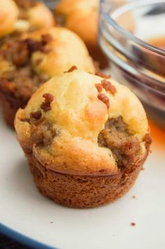 Warm and fluffy, the perfect sweet and savory combination. These Mini Sausage Pancake Muffins make the perfect easy breakfast recipe. Breakfast Items, Breakfast Muffins, Breakfast Dishes, Breakfast Recipes, Breakfast Casserole, Mini Muffins, Kid Breakfast, Pancake Sausage Muffins, Keto Pancakes