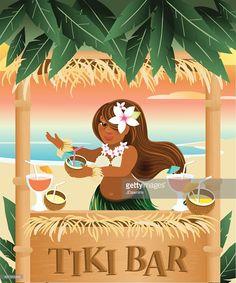 Clipart vectoriel : Retro Summer Tiki Bar Hawaiian design Hula Dancer                                                                                                                                                                                 Plus