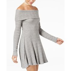 American Rag Juniors' Off-The-Shoulder Rib-Knit Sweater Dress, Created... ($24) ❤ liked on Polyvore featuring dresses, grey, ribbed knit dress, off the shoulder sweater dress, off-shoulder sweater dresses, sweater dress and ribbed knit sweater dress