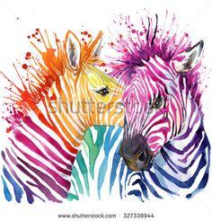 Funny zebra  T-shirt graphics, rainbow zebra illustration with splash watercolor textured background. illustration watercolor Funny zebra fashion print, poster for textiles, fashion design - stock photo