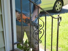 how to update and refinish old iron rails, diy, home maintenance repairs, how to… – Decor İdeas Wrought Iron Porch Railings, Rod Iron Railing, Outdoor Stair Railing, Iron Handrails, Wrought Iron Stair Railing, Metal Railings, Pipe Railing, Staircase Railings, Porch Steps
