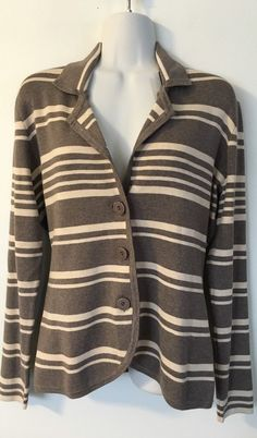 Cyrus Taupe Beige Striped Cardigan size M Viscose Blazer Collared Sweater Soft #Cyrus #Cardigan